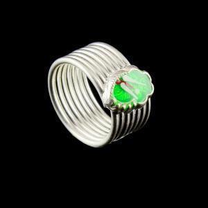 Silver Fancy Design Spring Teo Ring