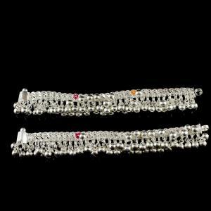 Silver Fancy Design Ankelets