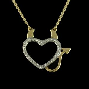 Gold Plated Casual Wear Heart Shape Pendant With Chain Studded Zircon Stones