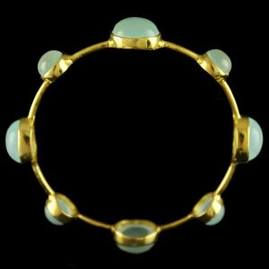 Gold Plated Onyx Stone Casual Bangle