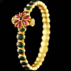 Gold Plated Screw Bangle Studded Semi Precious stones