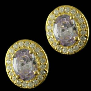 Gold Plated Oval Shape Earrings Studded Semi Precious Stones