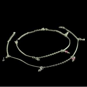 Silver Fancy Design Anklet With Crystal Beads
