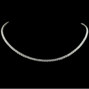 92.5 Sterling Silver Necklace Studded Zircon Stones