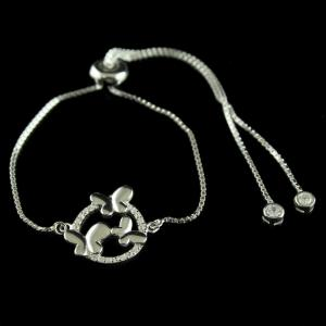Fancy Floral Design 92.5 Silver Bracelet Studded White Zircon Stones