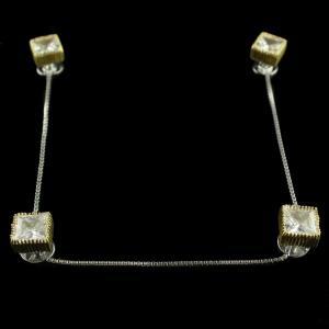 Silver  Gold Plated Cufflinks Studded Zircon Stones
