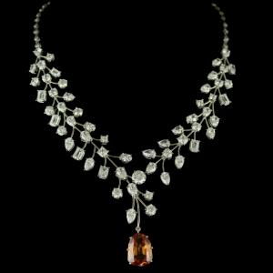 92.5 Sterling Silver Swarovski Stone Necklace