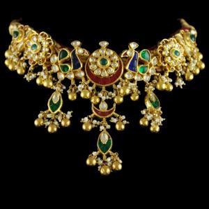Silver Gold Plated Floral Design Kundhan Stones Necklace