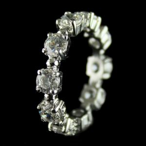 92.5 Sterling Silver Band Finger Ring Studded Swarovski Stones