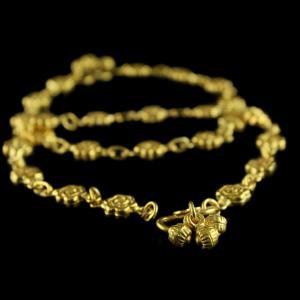 Silver Gold Plated Floral Design Anklets