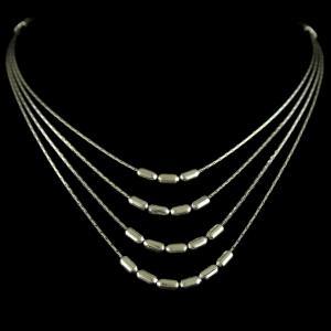 Silver Oxidized Fancy Design 3 Line Necklace