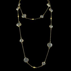 Silver Gold Plated Fancy Design Necklace Smoky Calcy Stones