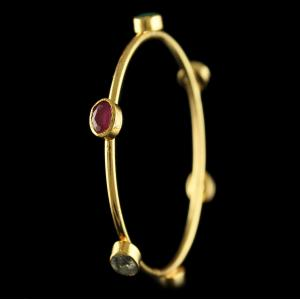 Gold Plated Silver 6 Stone Bangles