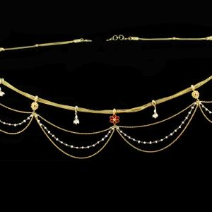 Silver Gold Plated  Fancy Design Oddiyanam Studded Kundan And Pearls Stones