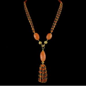 Silver Gold Plated Bunch Chain Necklace Carnelian Beads And Pearls