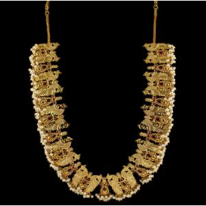 Gold Plated Peacock Design Necklace Studded Pearls