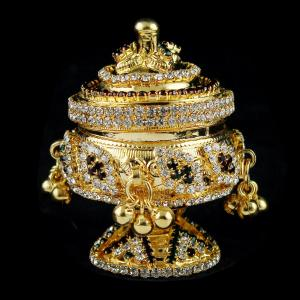 Silver Gold Plate Fancy Design Kumkum Box Studded Zircon Stones