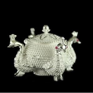 Silver Peacock Design Kumkum Box