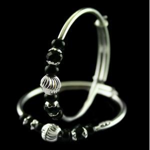 Silver Fancy Design Baby Bangles Studded Black Crystal