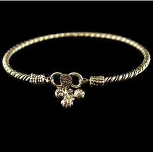 Silver Oxidized Fancy Design Anklets Band