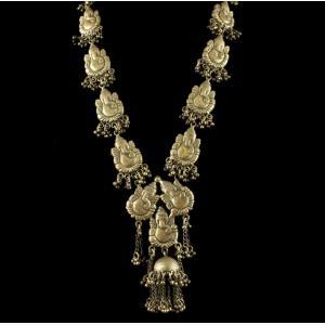 Silver Oxidized Fancy Design ganesha Necklace