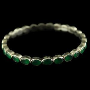 Silver Fancy Design Green Onyx Stones
