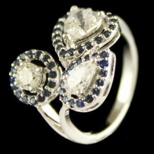 Sterling Silver Fancy Design Ring Studded Zircon Stones