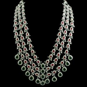 Silver Necklace With Zircon Stone And Green Onyx Red Onyx
