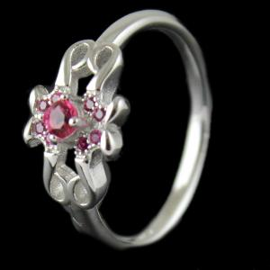 Silver Pink Stone Ring