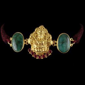 Gold Plated God Design Vanki Bajuband Green Hatipara And Red Onyx Stones