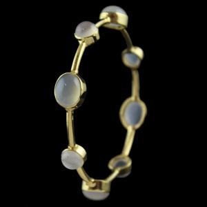 Gold Plated Onyx Bangle