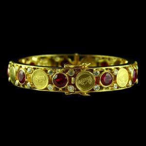Gold Plated Corundum Coin Bangle