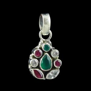 SILVER FLORAL DESIGN OXIDIZED PENDANT WITH RUBY EMERALD AND CZ STONES