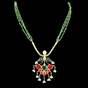 GOLD PLATED KUNDAN STONE PEACOCK NECLACE WITH GREEN HYDRO AND PEARLS