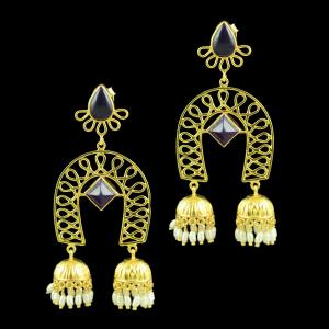 Gold Plated Jhumka Studded With Black Onyx And Pearl