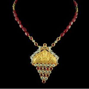 GOLD PLATED LAKSHMI NECKLACE WITH CZ AND RUBY STONES