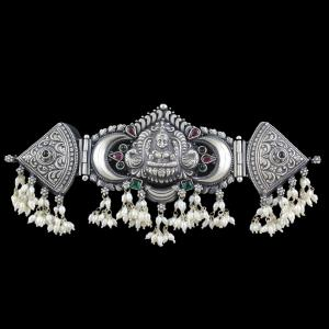 OXIDIZED SILVER LAKSHMI ARM BAND WITH ONYX AND PEARLS