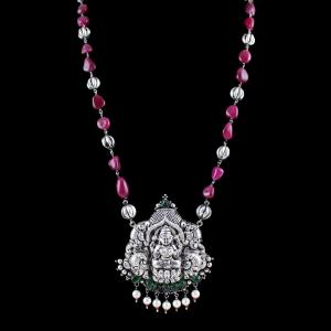 OXIDIZED SILVER LAKSHMI NECKLACE WITH GREEN QUARTZ AND PEARLS