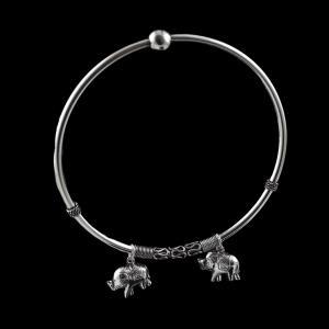 OXIDIZED SILVER ELEPHANT HANGING BANGLE