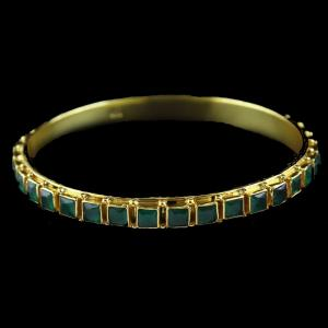 GOLD PLATED EMERALD STONES BANGLE