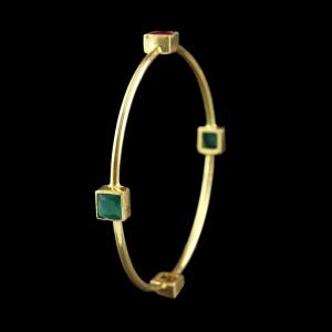 GOLD PLATED BANGLE WITH RUBY AND EMERALD STONE