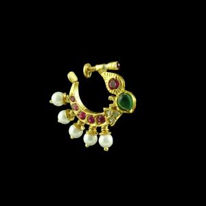 GOLD PLATED MULTI COLOR NOSE RING