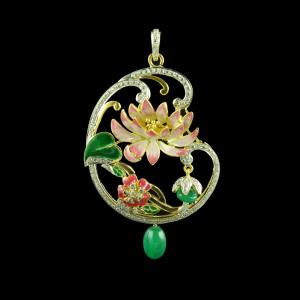 GOLD PLATED CZ FLORAL ENAMEL WITH GREEN ONYX PENDANT
