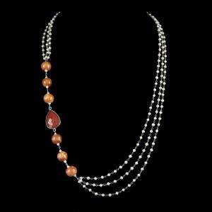 PEARL AATHI BUNCH NECKLACE WITH ORANGE ONYX STONE AND BLUE POTTERY BEADS