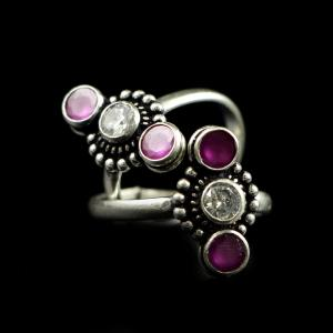 OXIDIZED SILVER RED CORUNDUM AND CZ TOE RINGS
