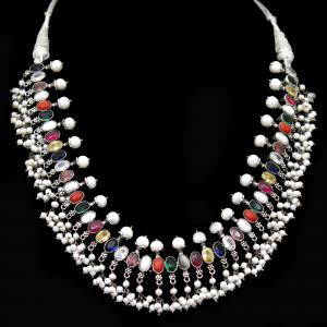 OXIDIZED SILVER NAVARATNA AND PEARL BEADS NECKLACES