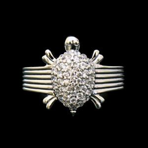 STERLING SILVER CZ TURTLE RINGS