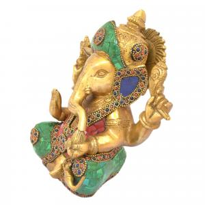BRASS GANESHA SITTING WITH 4 HANDS STONE WORK