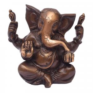 BRASS GANESHA 4 HANDS SITTING WITH STONE WORK