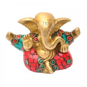 BRASS GANESHA 4 ARMS WITH STONE WORK